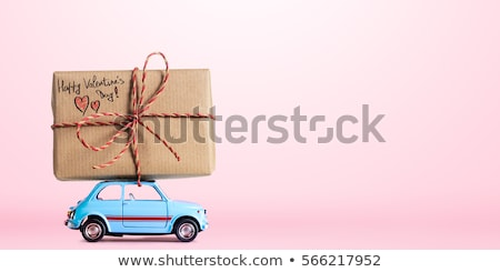 Blue Valentine`s Day background with car image Stock photo © leonido