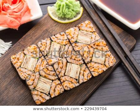 Futomaki with tobico and tomago omelette Stock photo © vankad