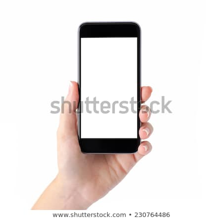 female hand holding a smart phone isolated on white stock photo © lightpoet