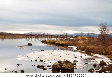 Photo stock: Lac · coucher · du · soleil · Islande · scénique · vue · belle