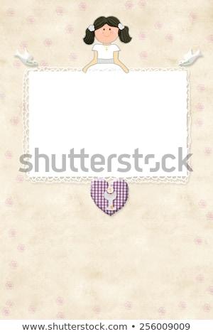 Elsőáldozás barna lány emlékeztető kártya meghívó Stock fotó © marimorena