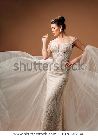 Elegancia gyönyörű menyasszony ujjatlan ruha nő Stock fotó © gromovataya