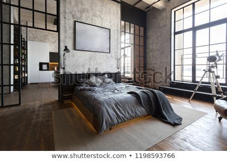 Lit chambre design d'intérieur maison belle architecture Photo stock © cr8tivguy