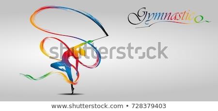Kid girl rhythmic gymnastics exercises on white Stock photo © lunamarina