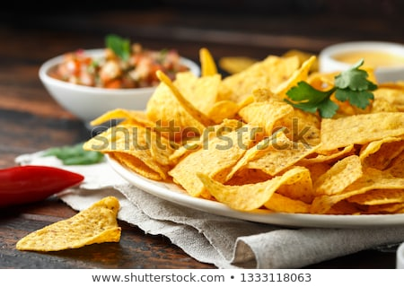 Crisp corn nachos with guacamole sauce Stock photo © juniart
