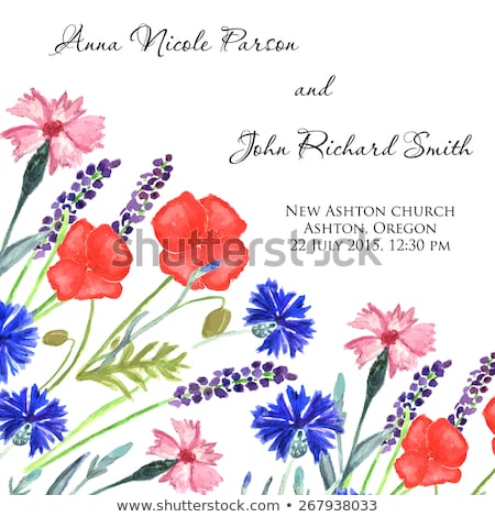Watercolor Painted Wedding Invitation Cornflower Lavender Sweet Pea And Poppy Flowers Pattern Stock fotó © mcherevan