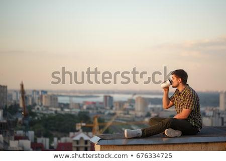 zakenman · drinken · koffie · buitenshuis · portret · knap - stockfoto © deandrobot