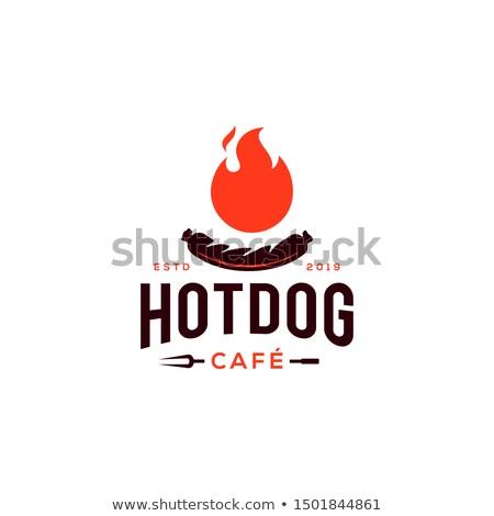 Retro hotdog embleem uitstekend eps 10 Stockfoto © netkov1