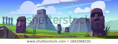 pirâmide · ilustração · antigo · calendário · palma · viajar - foto stock © morphart