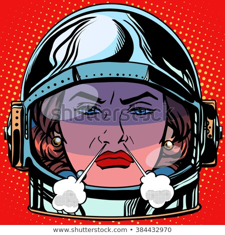 emoticon rage boiling water Emoji face woman astronaut retro Stock photo © studiostoks