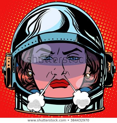 emoticon rage boiling water emoji face woman astronaut retro stock photo © studiostoks