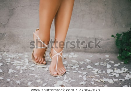 Woman feet in flower sandals. Stock photo © iofoto