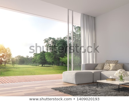 An open window with a view of the big tree Stock photo © bluering