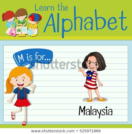 Letra m Malásia ilustração fundo arte educação Foto stock © bluering