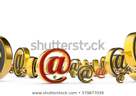 Stock photo: E-mail gold symbol. 3D render illustration. Isolated over white.