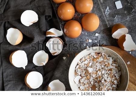 çatlamak yumurta kabuğu beyaz arka plan kuş tavuk Stok fotoğraf © bluering