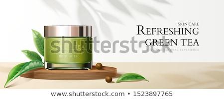 баннер чай листьев белый прямоугольный зеленый Сток-фото © blackmoon979