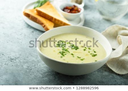 Stockfoto: Aardappelsoep · eigengemaakt · vegetarisch · spek · geserveerd · Italiaans