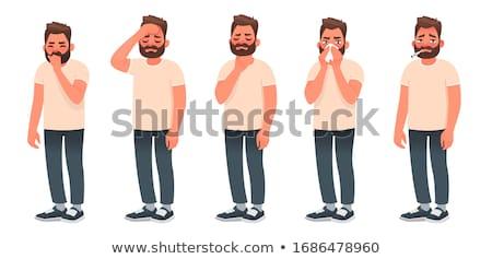 ból · szyi · smutne · biznesmen · dotknąć · szyi - zdjęcia stock © kurhan