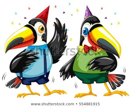 Due uccelli dancing party illustrazione felice Foto d'archivio © bluering