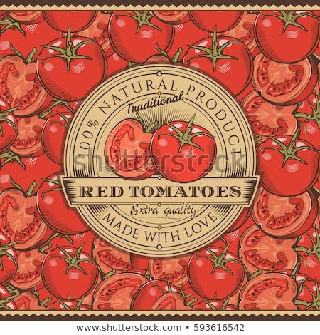 Vintage красный помидоров Label вектора Сток-фото © ConceptCafe