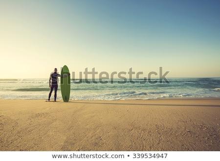 Surfer · смотрят · волны · закат · Португалия · пляж - Сток-фото © homydesign
