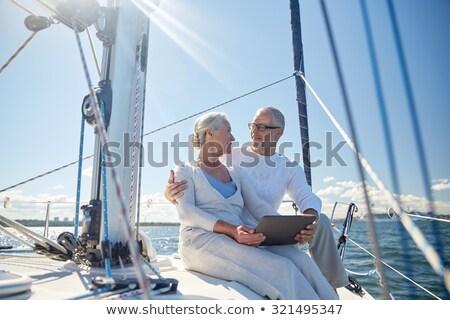 Starszy para żagiel łodzi jacht żeglarstwo Zdjęcia stock © dolgachov