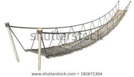Stock photo: Rope Bridge On White
