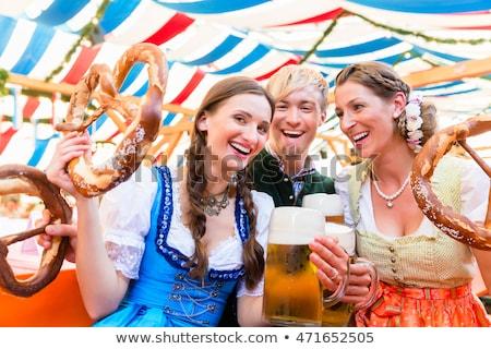 Jókedv Oktoberfest gyönyörű szexi nő visel Stock fotó © Fisher