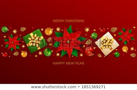 golden bow on red background vector illustration stock photo © fresh_5265954