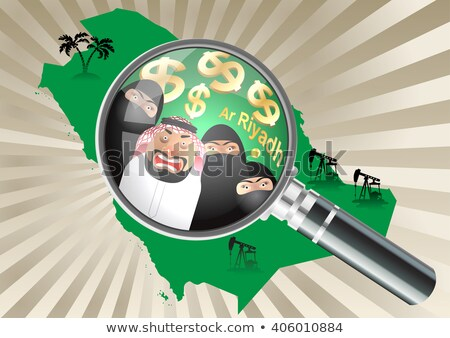 Stockfoto: Arab · familie · moslim · mensen · saudi · cartoon