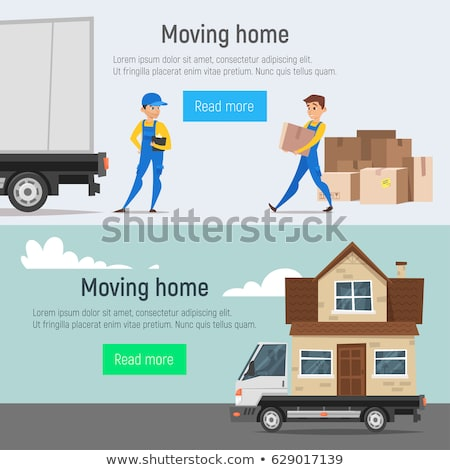 Vector cartoon style moving home banners of loaders movers man stock photo © curiosity
