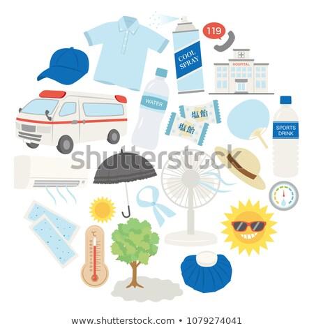 Heat stroke. Medical Concept on Blue Background. Stock photo © tashatuvango