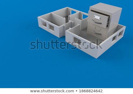 Stockfoto: Kaart · bestand · project · plan · 3d · illustration · witte