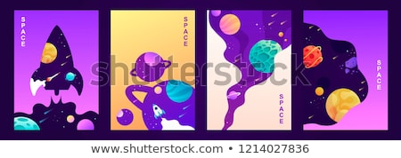Foto stock: Paper Template With Planets In Universe