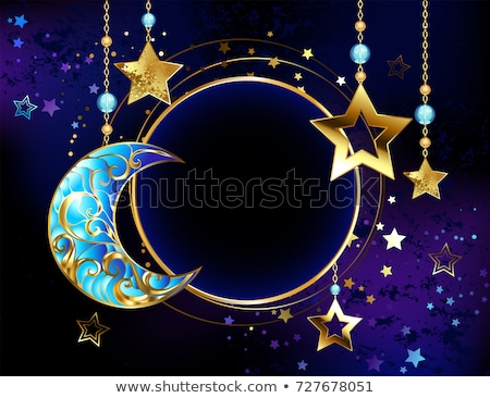 Round banner with jewelry crescent moon Stock photo © blackmoon979