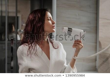 Charming girl in bathroom using hairdryer Stock photo © dash
