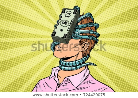 Financial dependence, a man with money parasite on the face Stock photo © studiostoks