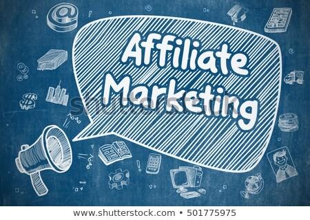 Stockfoto: Referral Marketing - Doodle Illustration On Blue Chalkboard