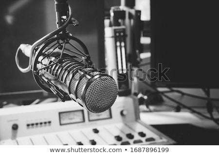 Mikrofon rádió háttér város ikon lineáris Stock fotó © Olena