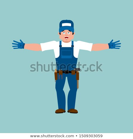 Plumber happy. Fitter merry. Service worker Serviceman cheerful. Stock photo © popaukropa