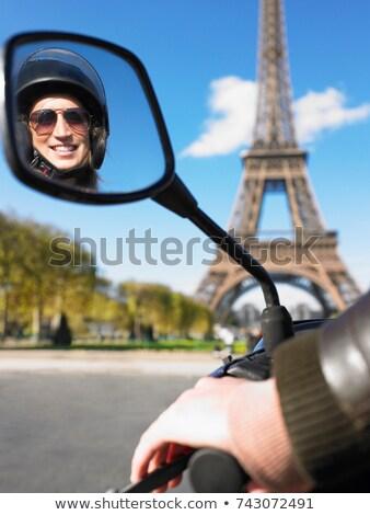 Kadın Paris el bisiklet renk ayna Stok fotoğraf © IS2