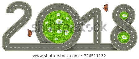 2018 year. Template road marking number Stock photo © orensila