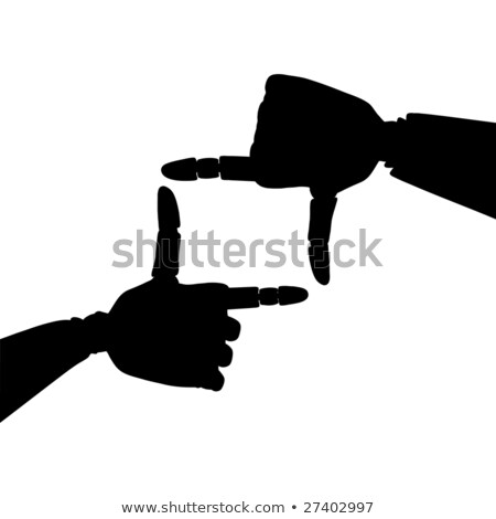 Silhouette of frame made of gold robotic hands  Stock photo © sommersby