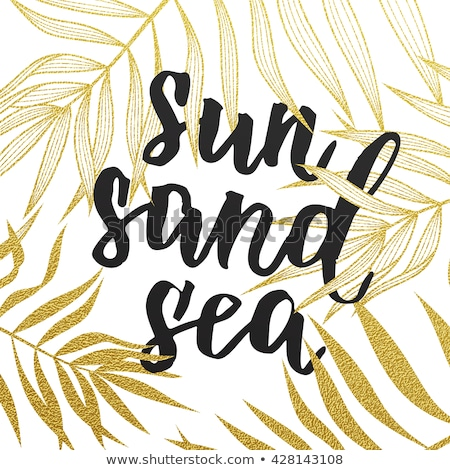 Lata tekst kartkę z życzeniami plaży wakacje palma Zdjęcia stock © orensila