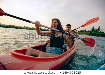 fiatal · pér · napozás · katamarán · pár · csónak · női - stock fotó © is2