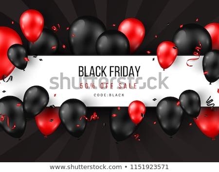 Black friday Verkauf Plakat glänzend Ballons rot Stock foto © ikopylov