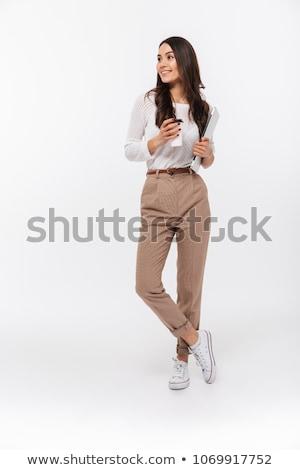Stok fotoğraf: Full Length Portrait Of A Happy Asian Businesswoman Walking