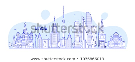 white landmarks sketch on blue stock photo © studioworkstock