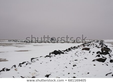 People on jetty at dusk in snow Stock photo © IS2